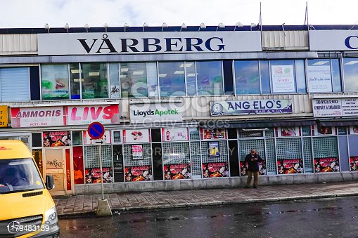 Stockholm, Sweden October 5, 2019 Shopfronts in the immigrant suburb of Varberg