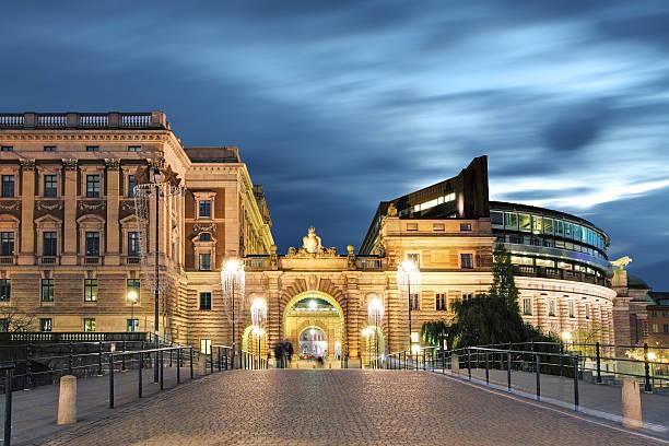 stockholm, suède. riksdag (parlement), bâtiment. - politique et gouvernement photos et images de collection
