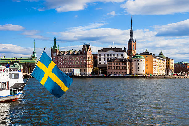 Stockholm, Sweden. Scenic view of the old town and church - foto de acervo
