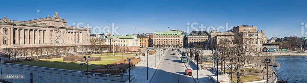 Stockholm Swedish Riksdag Parliament House panorama Helgeandsholmen Sweden stock photo