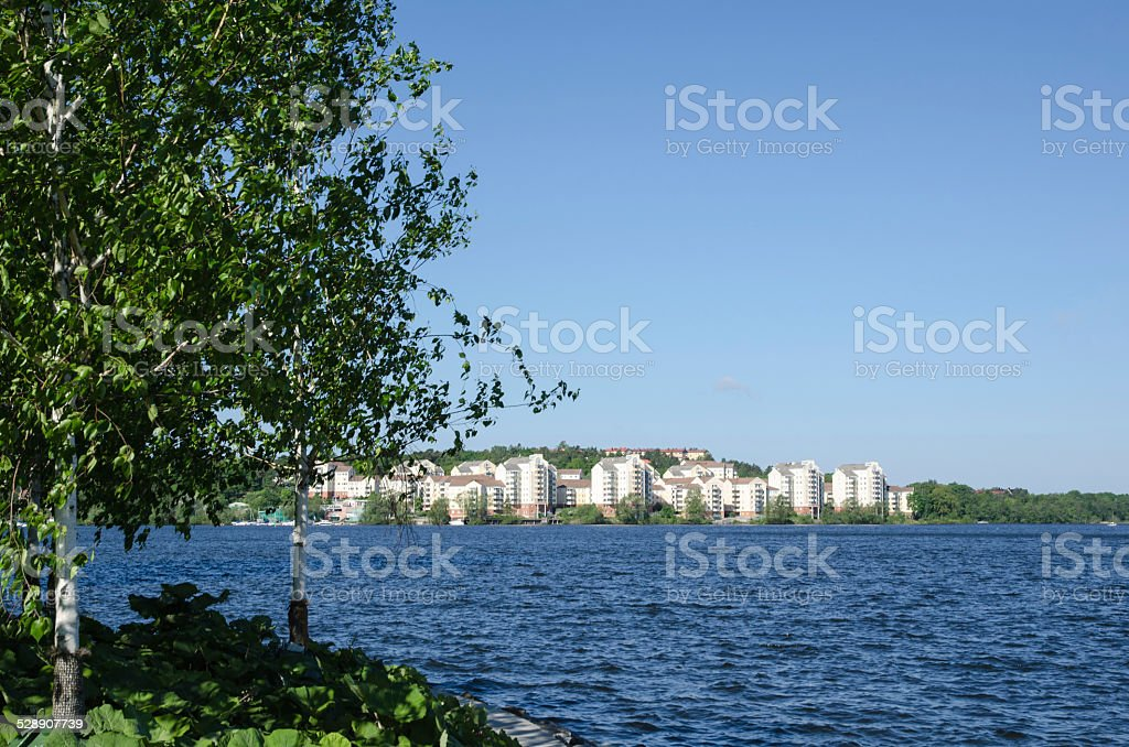 Stockholm, the green city. View at a suburban area stock photo