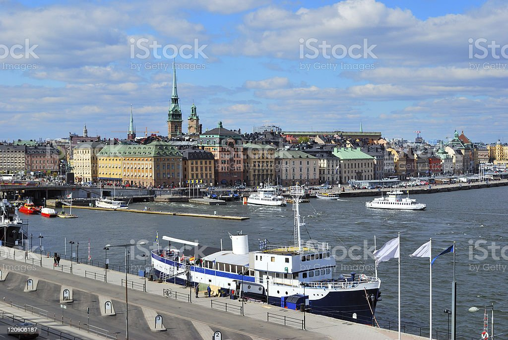 Stockholm. View of the Old Town and Slussen stock photo
