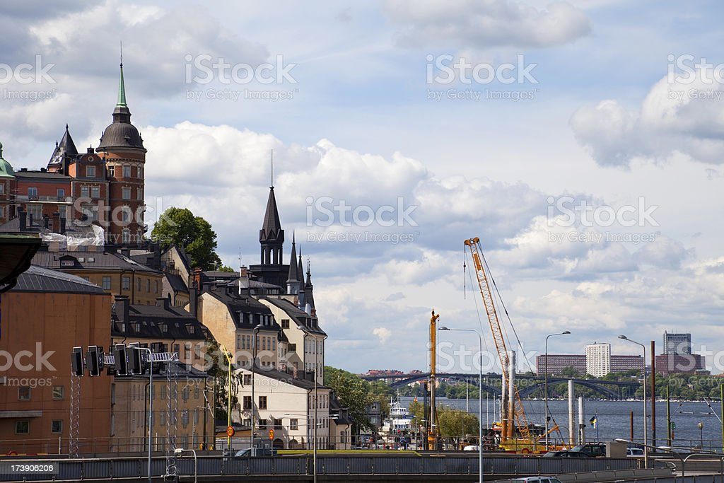 Stockholm view. Söder Mälarstrand and Västerbron. royalty-free stock photo