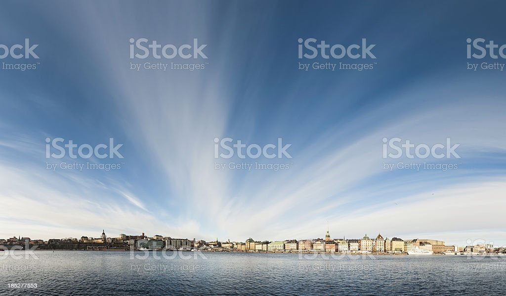 Stockholm waterfront panorama under big sky royalty-free stock photo
