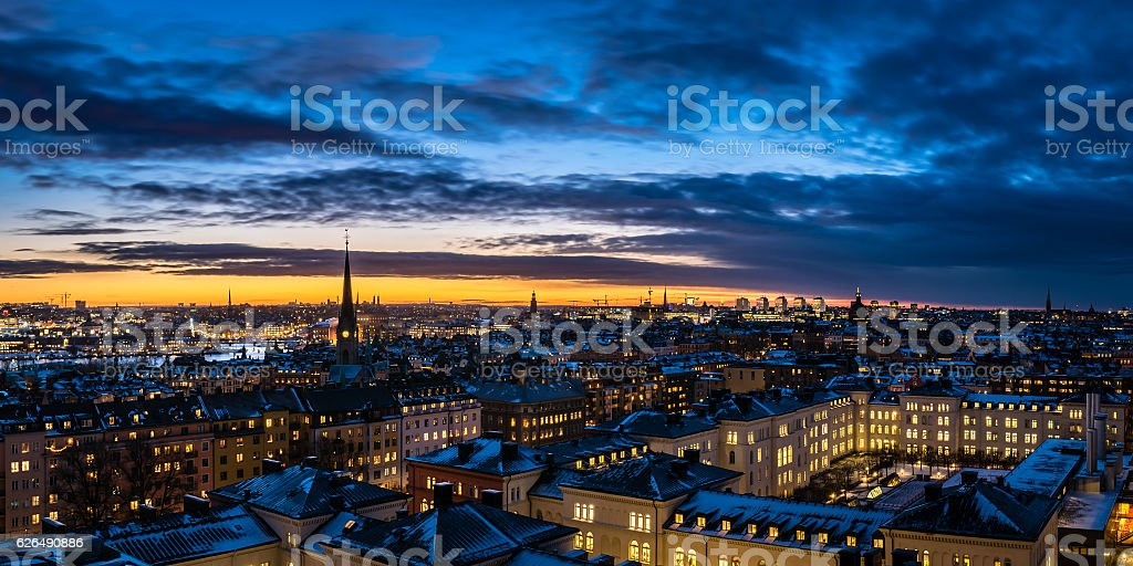 Stockholm Winter Evening stock photo