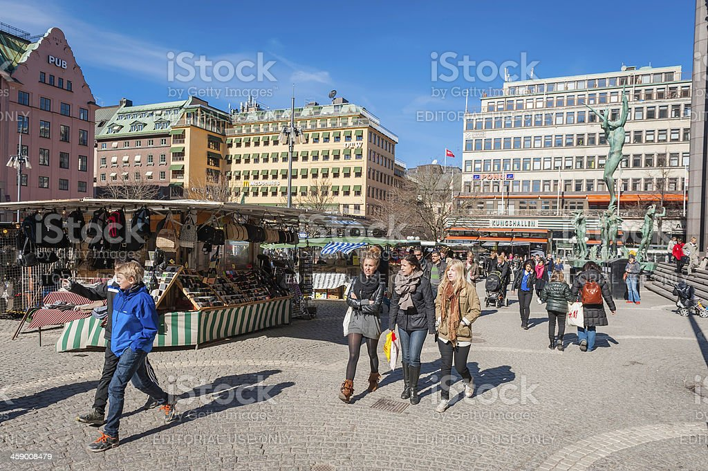 Stockholm young people in Hotorget market square Sweden stock photo