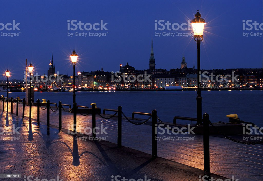 Stockholms embankment with a lamps stock photo