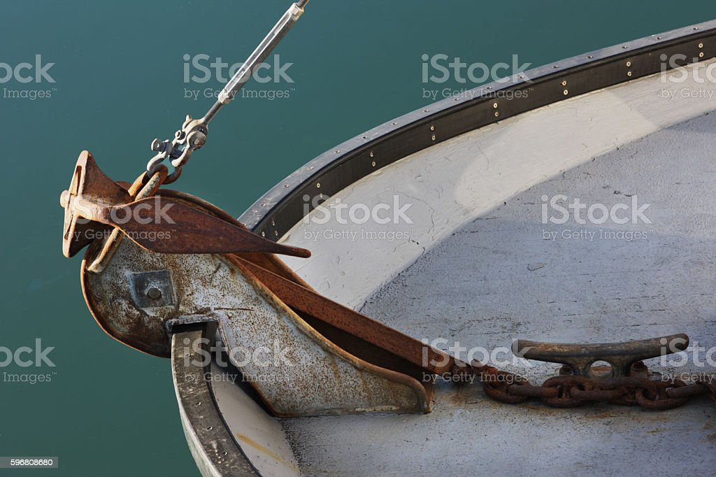 Stockless Anchor Rode Bow Roller Nautical Equipment stock photo