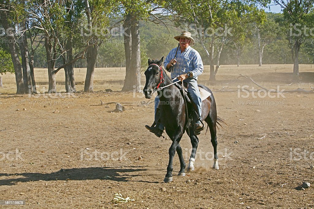 Stockman on horse returning home after muster stock photo