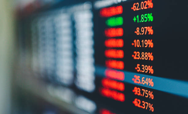 Stockmarket crash and Financial crisis investmenst business leading to recession in stockmarket stock photo