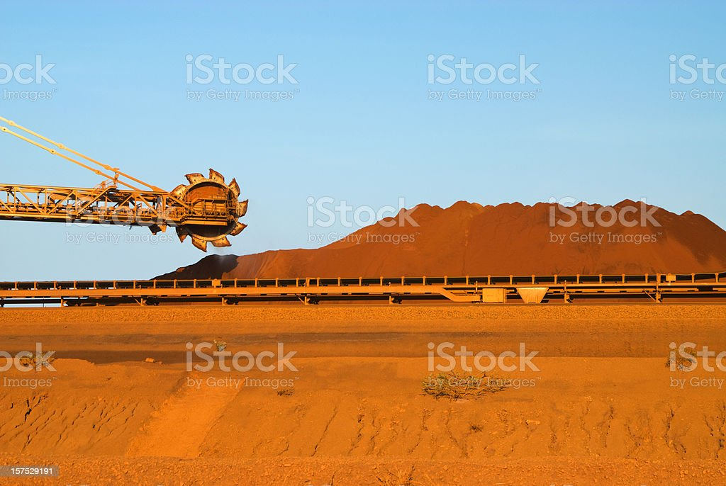 Stockpiling Iron Ore Mine stock photo