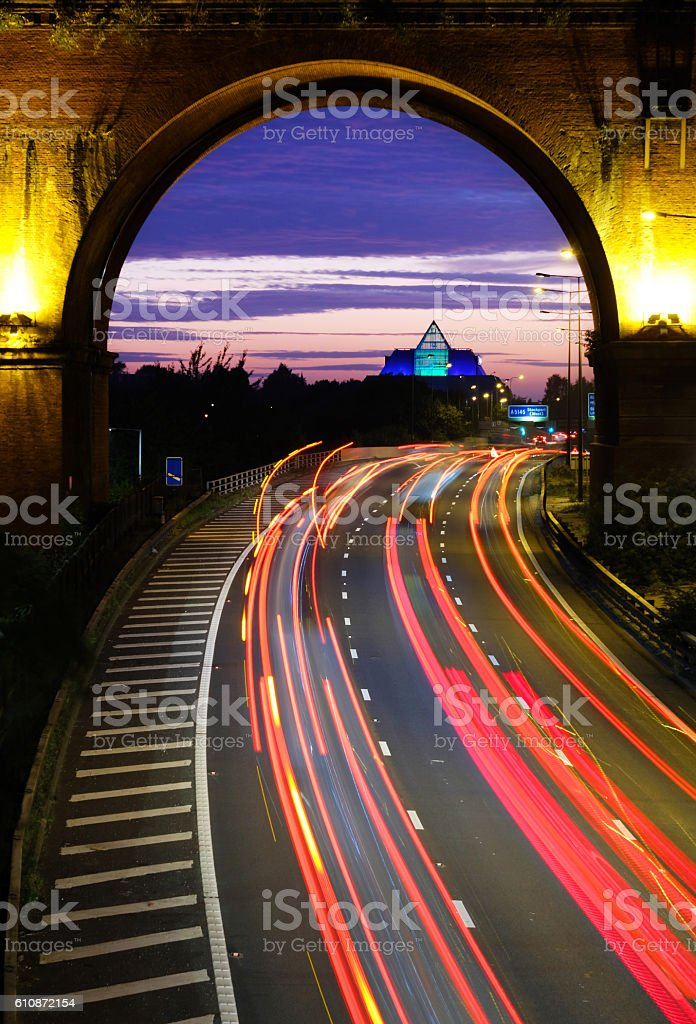 Stockport Viaduct and Traffic at Dusk stock photo