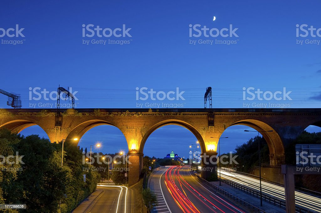 stockport viaduct tail lights - 17 stock photo