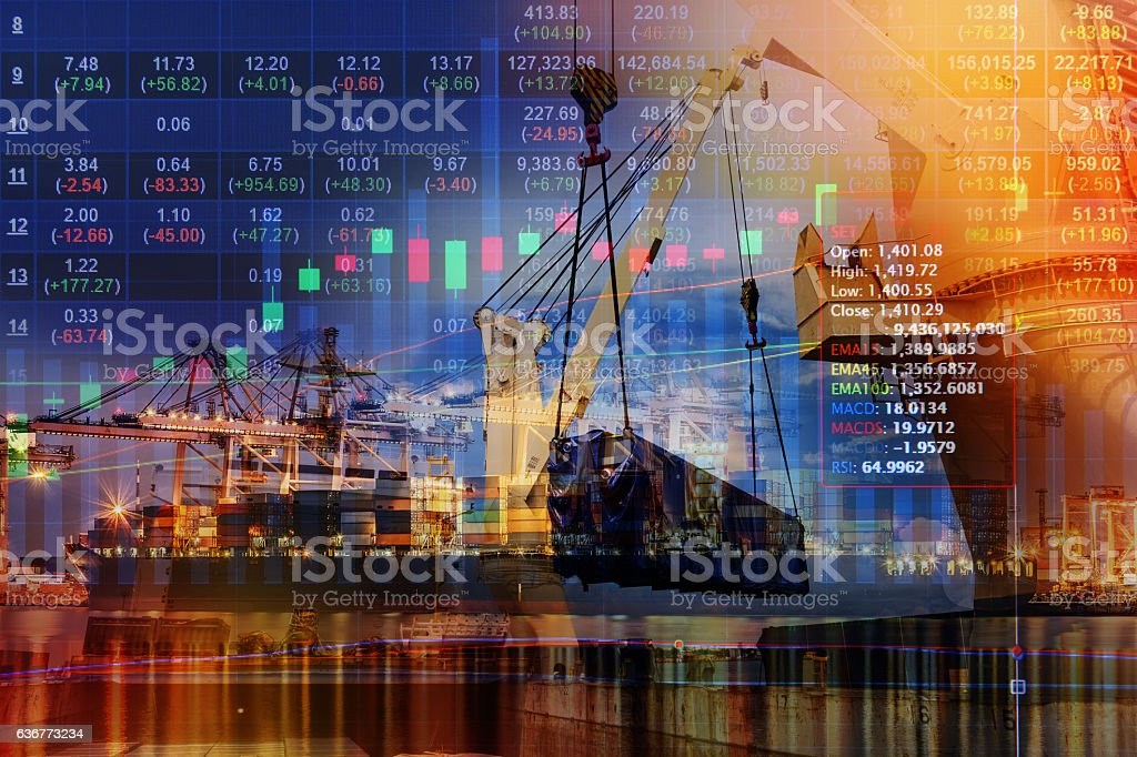 Stocks market chart concept with International Container Cargo ship stock photo