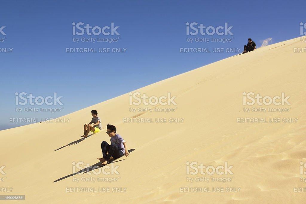 Stockton Beach - Sandboarding stock photo