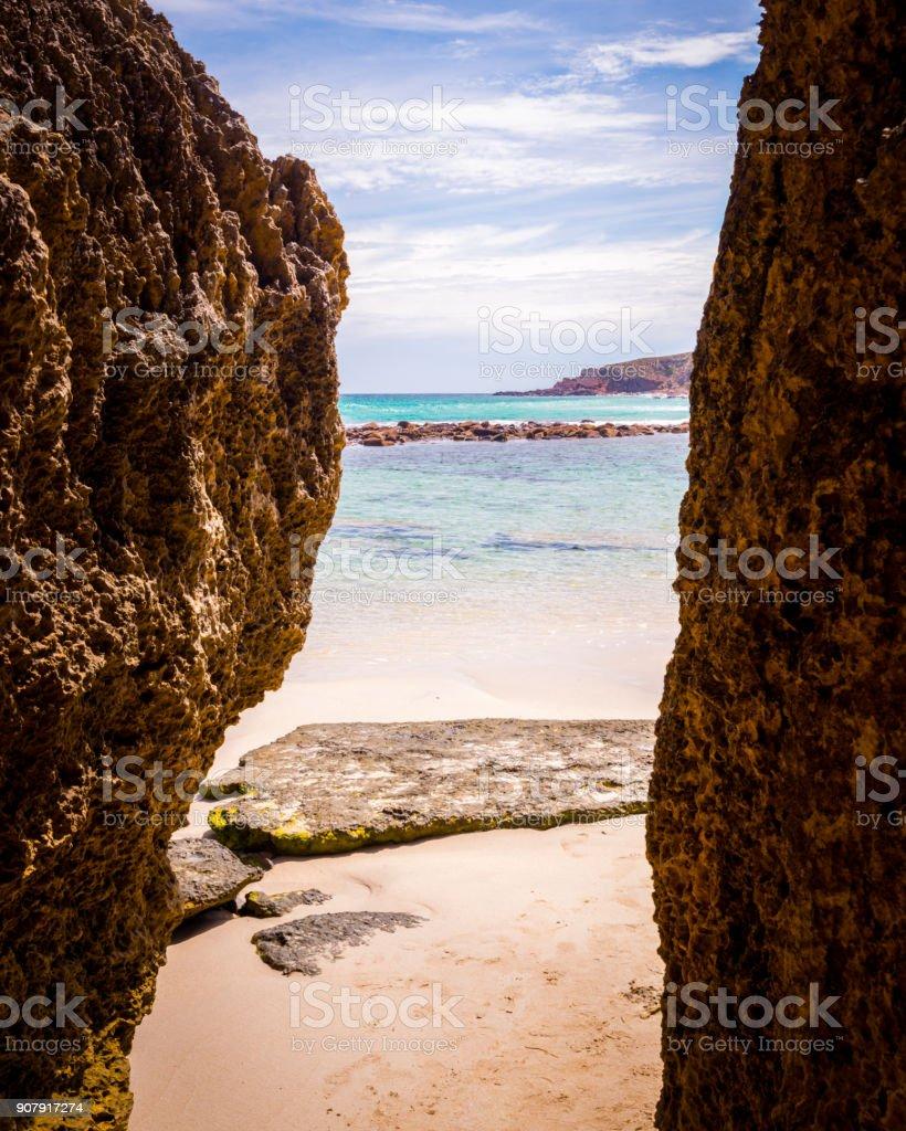 Stokes Bay on Kangaroo Island entrance through the rocks stock photo