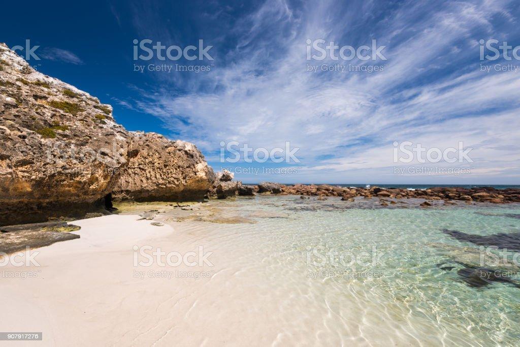 Stokes Bay on Kangaroo Island overlooking clear beach stock photo