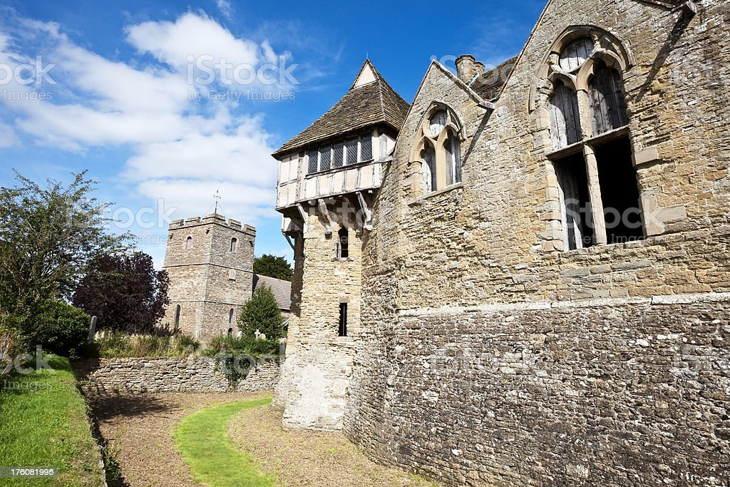 Stokesay Castle and Church stock photo