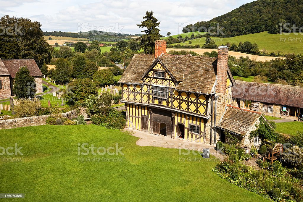 Stokesay Castle Gatehouse in Shropshire stock photo