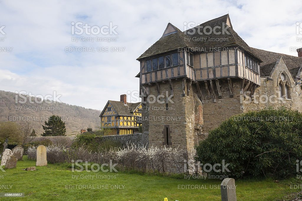 Stokesay Castle in Shropshire on cloudy day stock photo