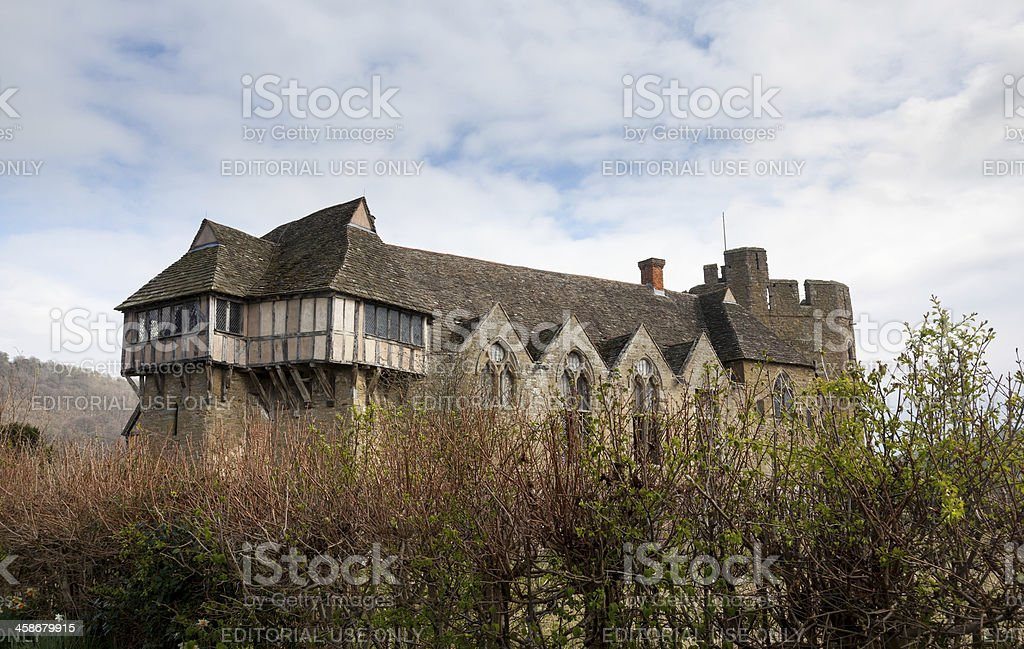 Stokesay Castle in Shropshire surrounded by hedge stock photo