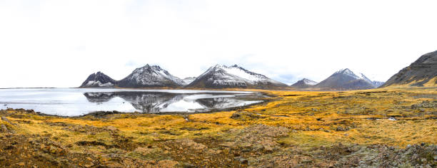 Stokksnes Iceland Mountain Lake Stokksnes ziel stock pictures, royalty-free photos & images