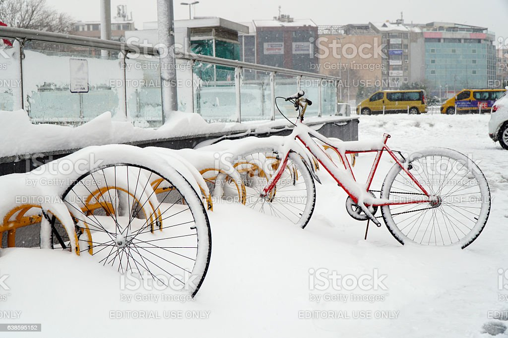 Stolen Bicycle on The Snow at Istanbul stock photo