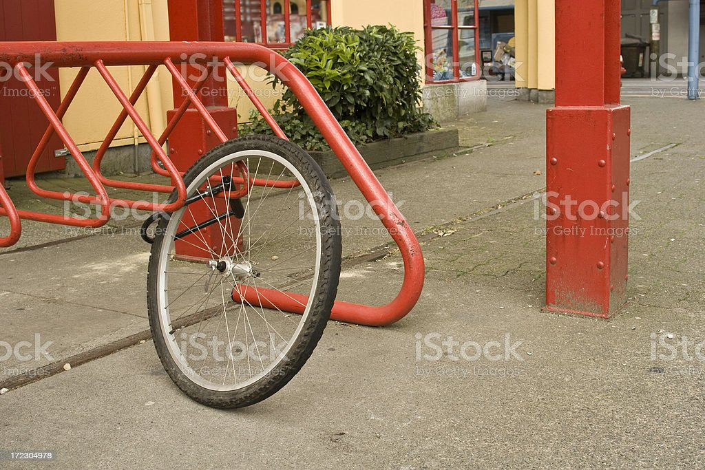 Stolen Bike Wheel. stock photo