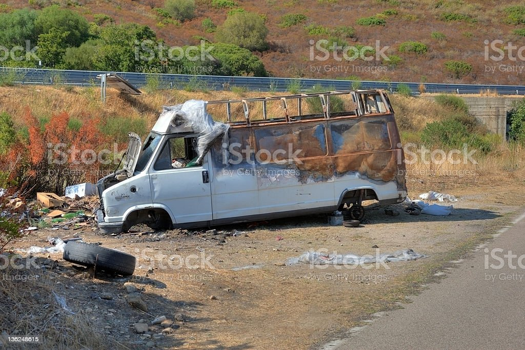 Stolen burnt out van royalty-free stock photo