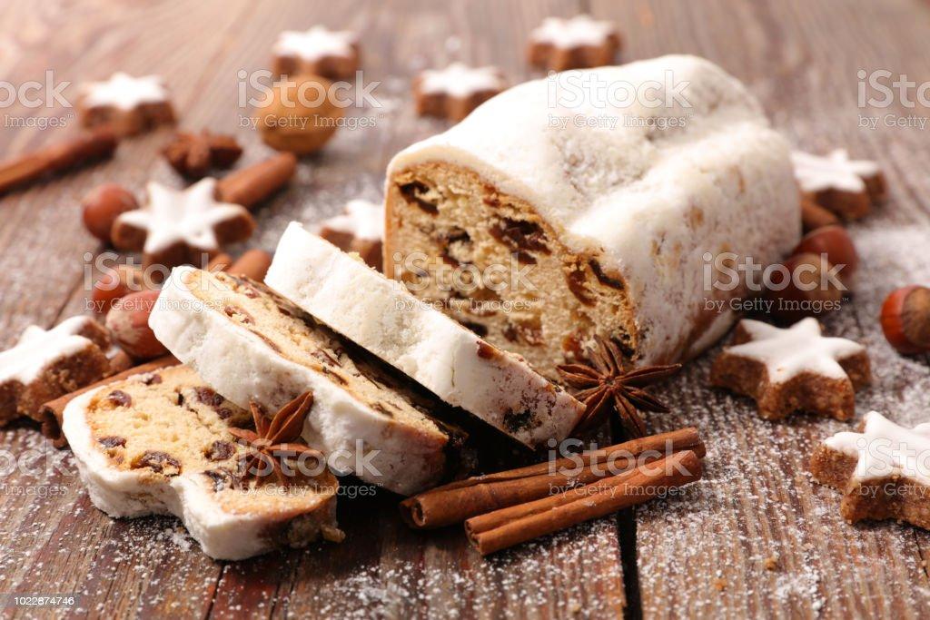 Stollen-Obstkuchen - Lizenzfrei Bäckerei Stock-Foto