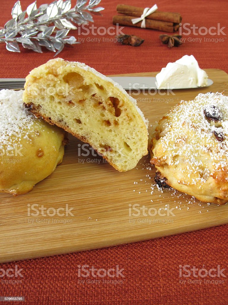 Stollen scones with clotted cream stock photo