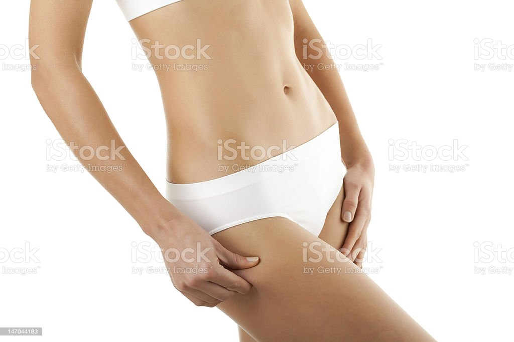 Stomach and thigh view of a slim woman in white panties royalty-free stock photo