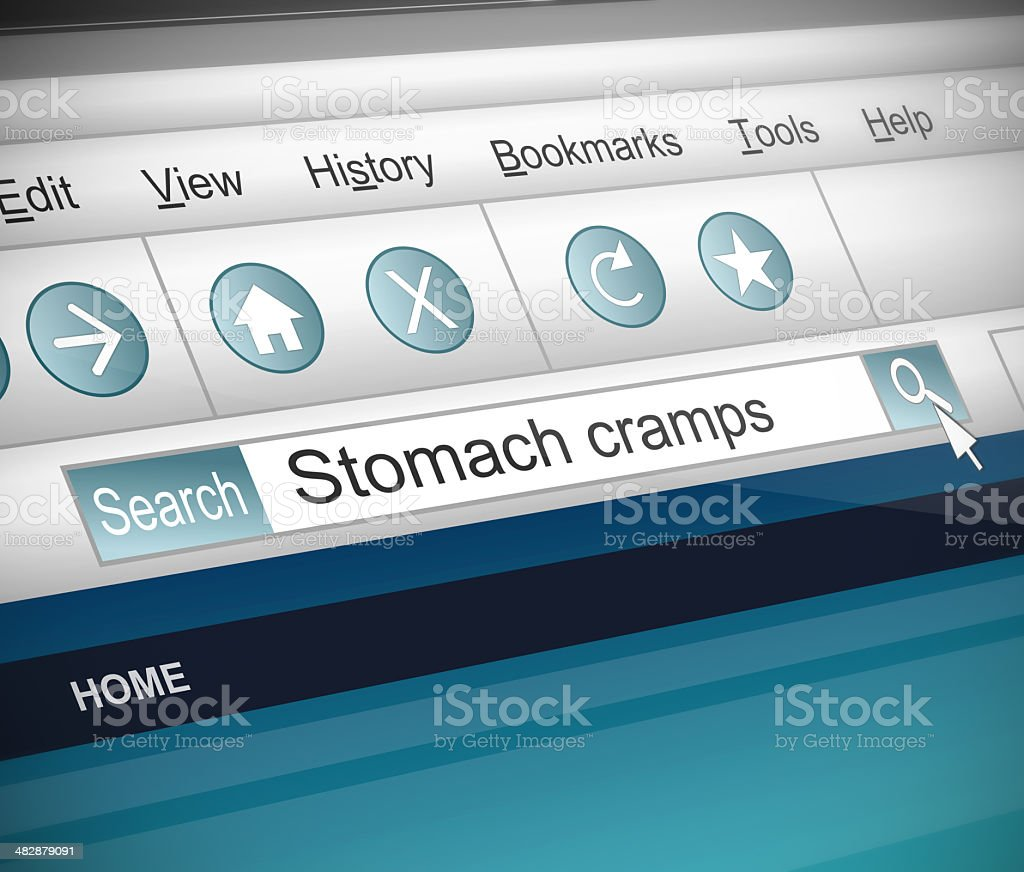 Stomach cramps concept. stock photo