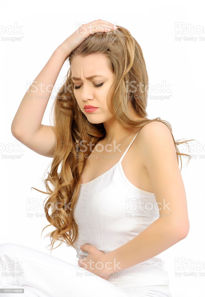 stomach cramps royalty-free stock photo