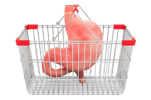 istock stomach in shopping basket, 3D rendering isolated on white background 1072238804