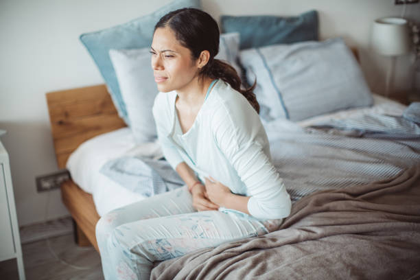 Stomach pain attack stock photo