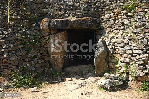 Entry to a stone age cairn (Gavrinis, french Brittany)