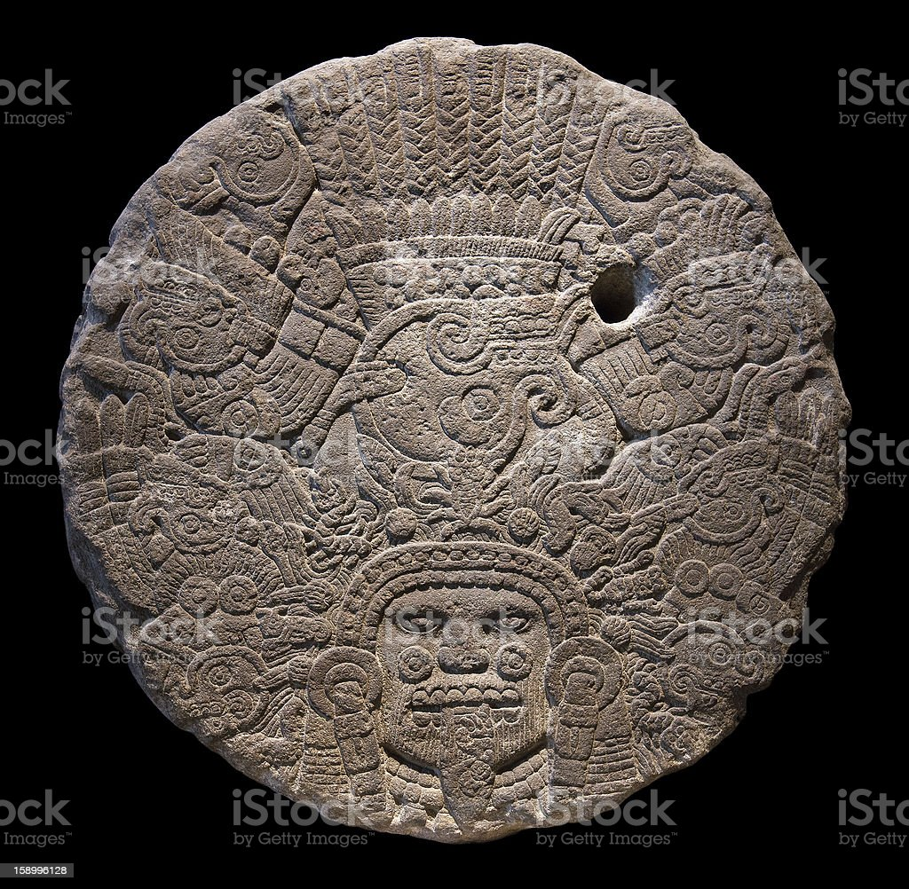 Stone altar disk to Tlaltecuhtli, Lord of the Earth. stock photo