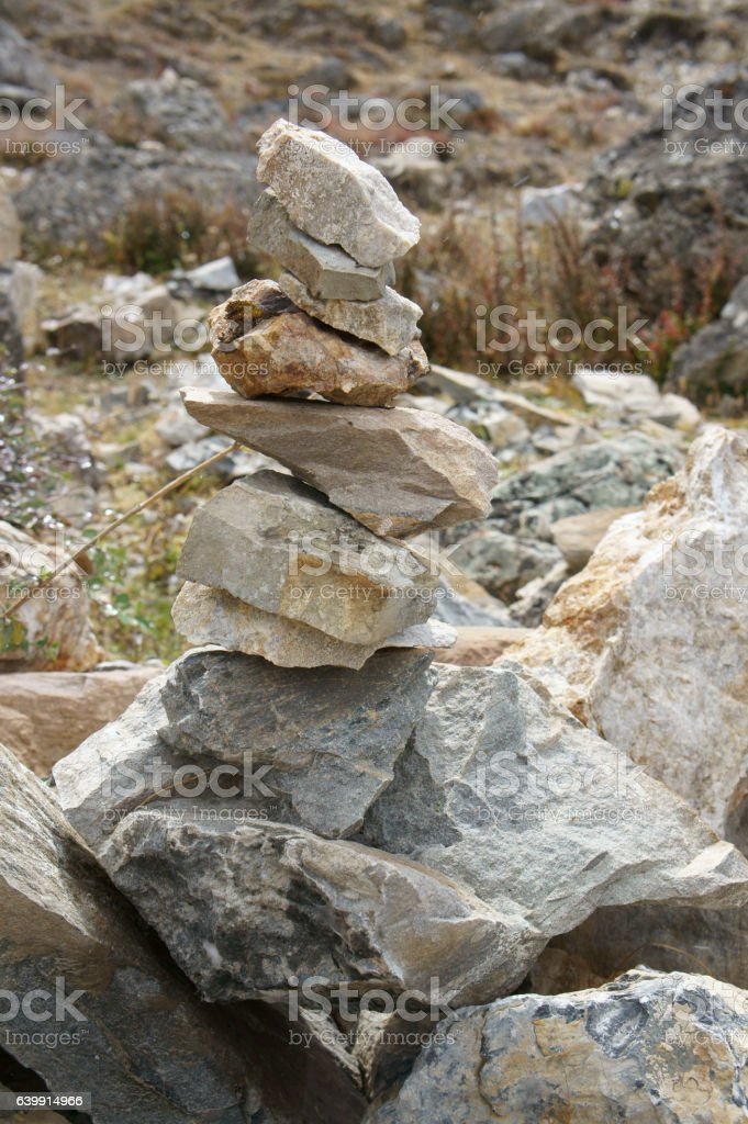 stone altar outside Muktinath temple stock photo