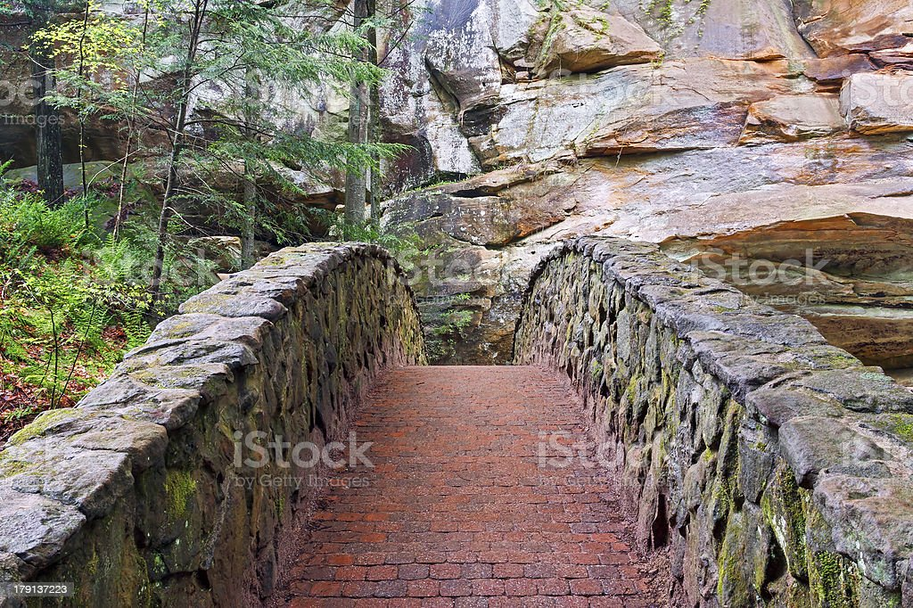 Stone and Brick Footbridge at Old Man's Cave royalty-free stock photo