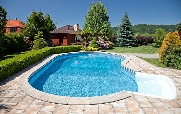 Stone and concrete swimming pool in suburban backyard of NY stock photo