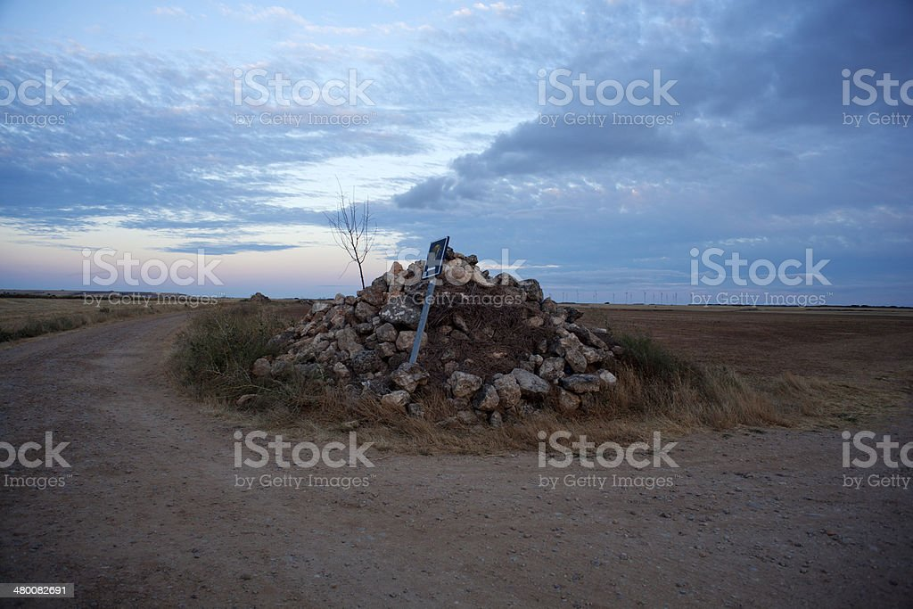 Stone and signal, Way of St. James stock photo