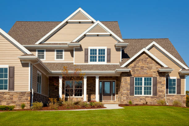 Stone and Vinyl House With Cedar Accents  model home stock pictures, royalty-free photos & images