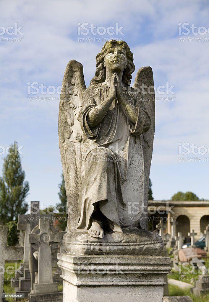 Stone Angel in old Cemetery London royalty-free stock photo