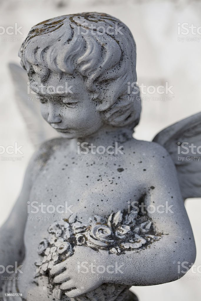Stone angel tombstone royalty-free stock photo