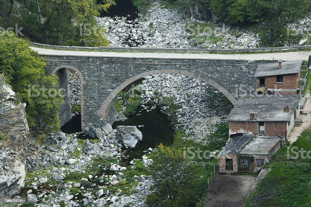 Stone Arch Bridge Across River stock photo