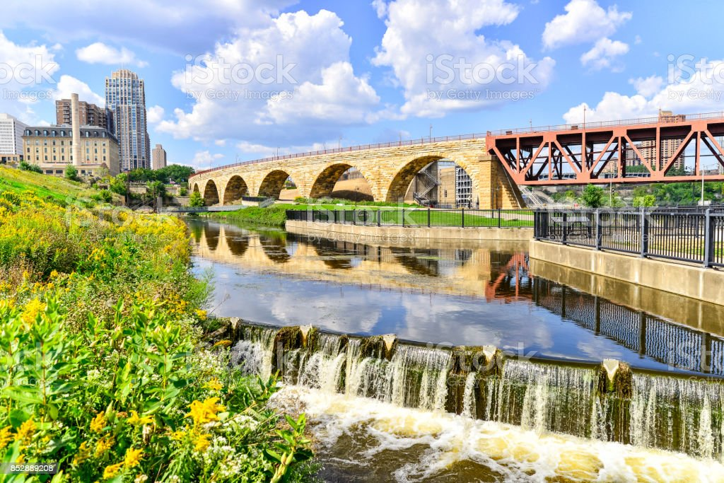 Stone Arch Bridge and Minneapolis Riverfront stock photo