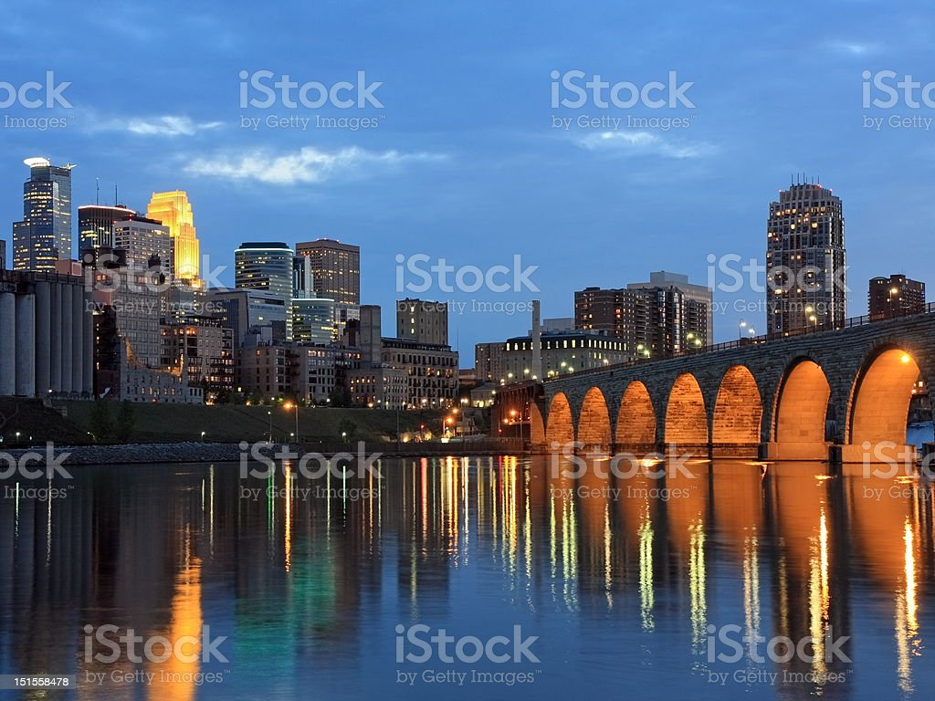 Stone Arch bridge and Mississippi river stock photo