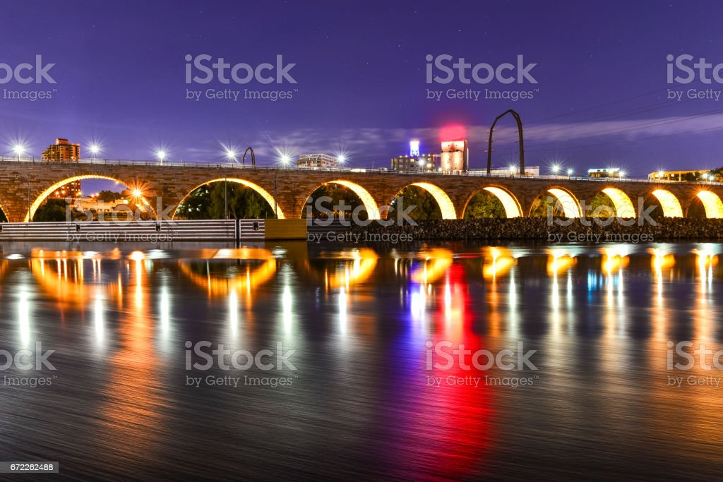 Stone Arch Bridge in Minneapolis at Dusk stock photo