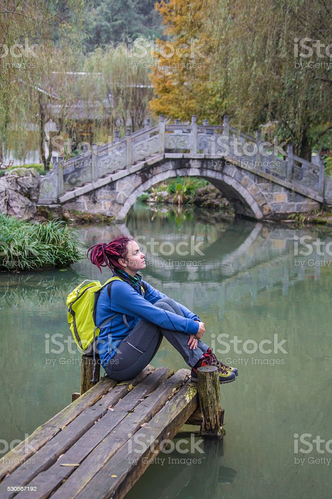 Stone arch bridge in Yunnan Ethnic Minority Village stock photo